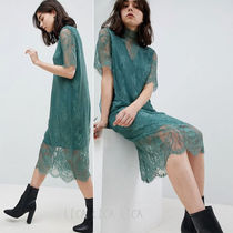 国内発送ASOS/Pieces T-Neck Lace Midi Dress