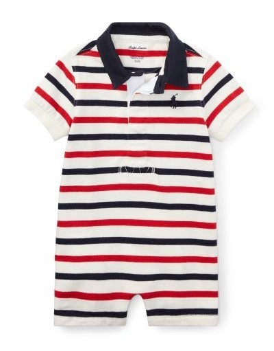 新作♪国内発送 2色Striped Cotton Rugby Shortall boys 0~24M