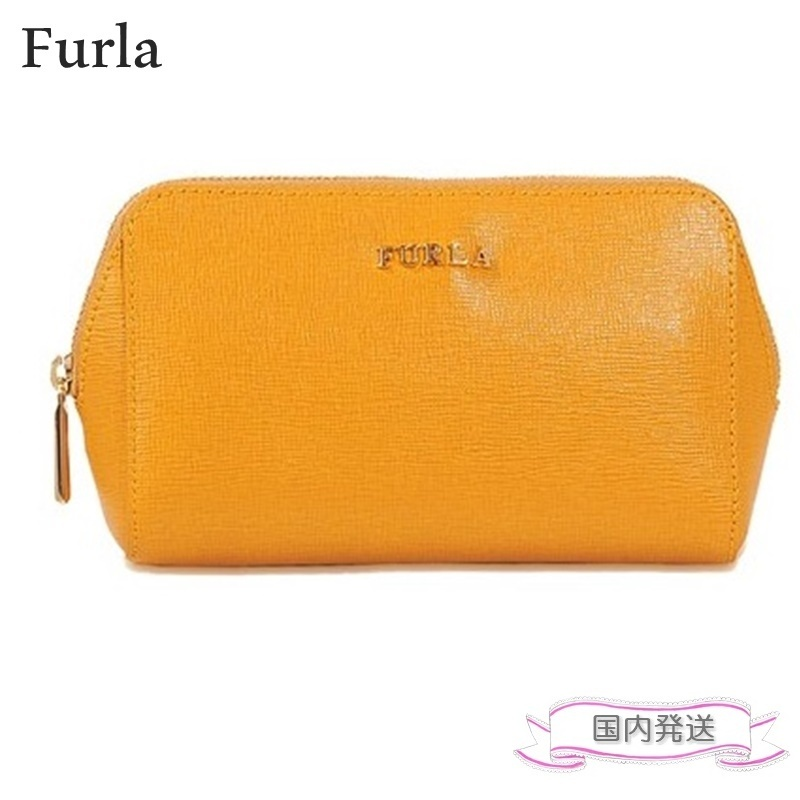 FURLA Electra Cosmetic Case 化粧ポーチ イエロー 国内発送
