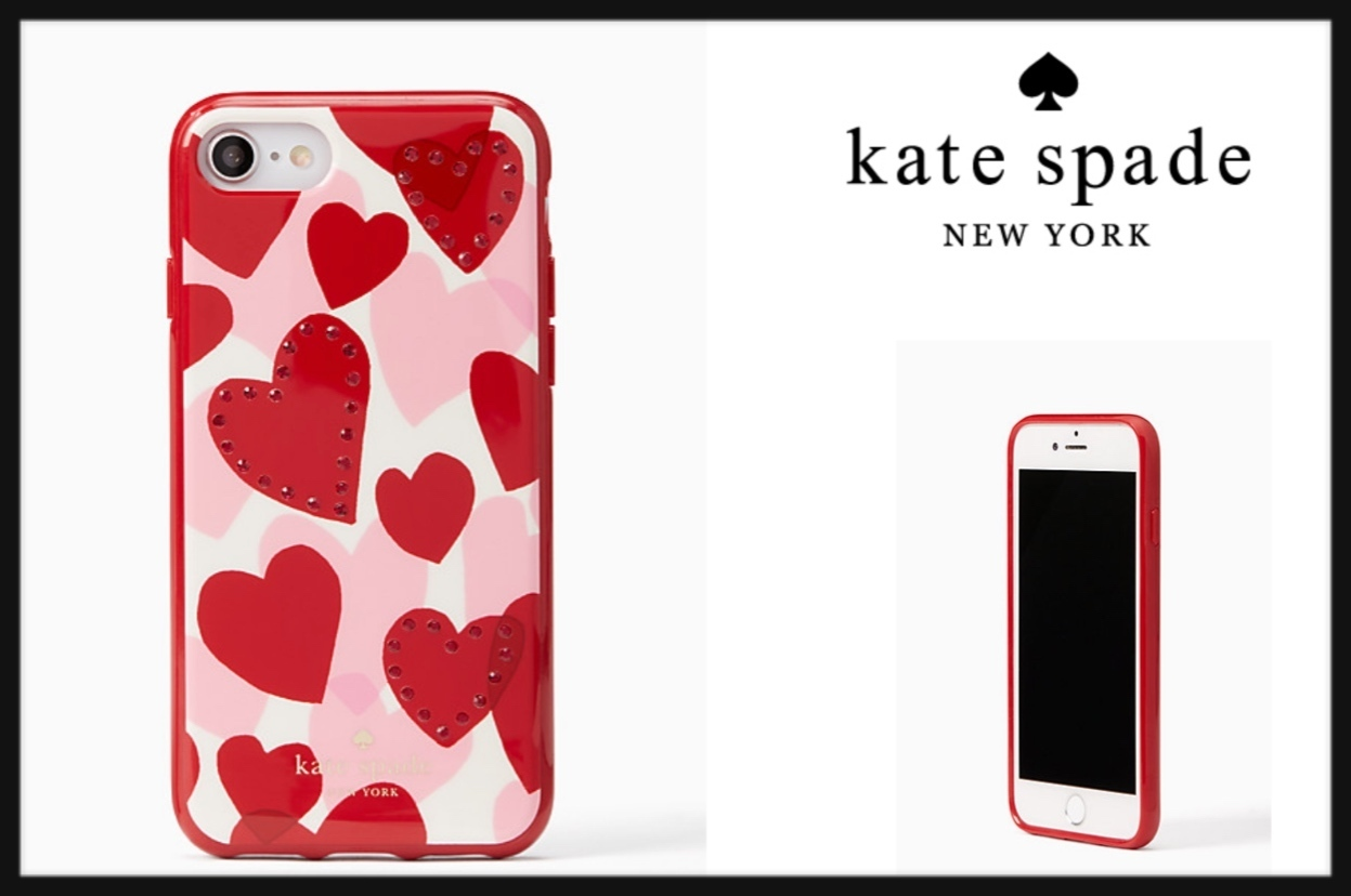 新作 kate spade jeweled heart iphone 7/8 スマホケース