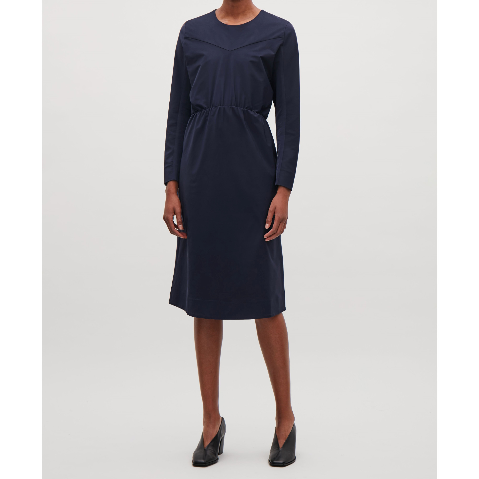 COS☆DRESS WITH TWO-PIECE SLEEVES / navy