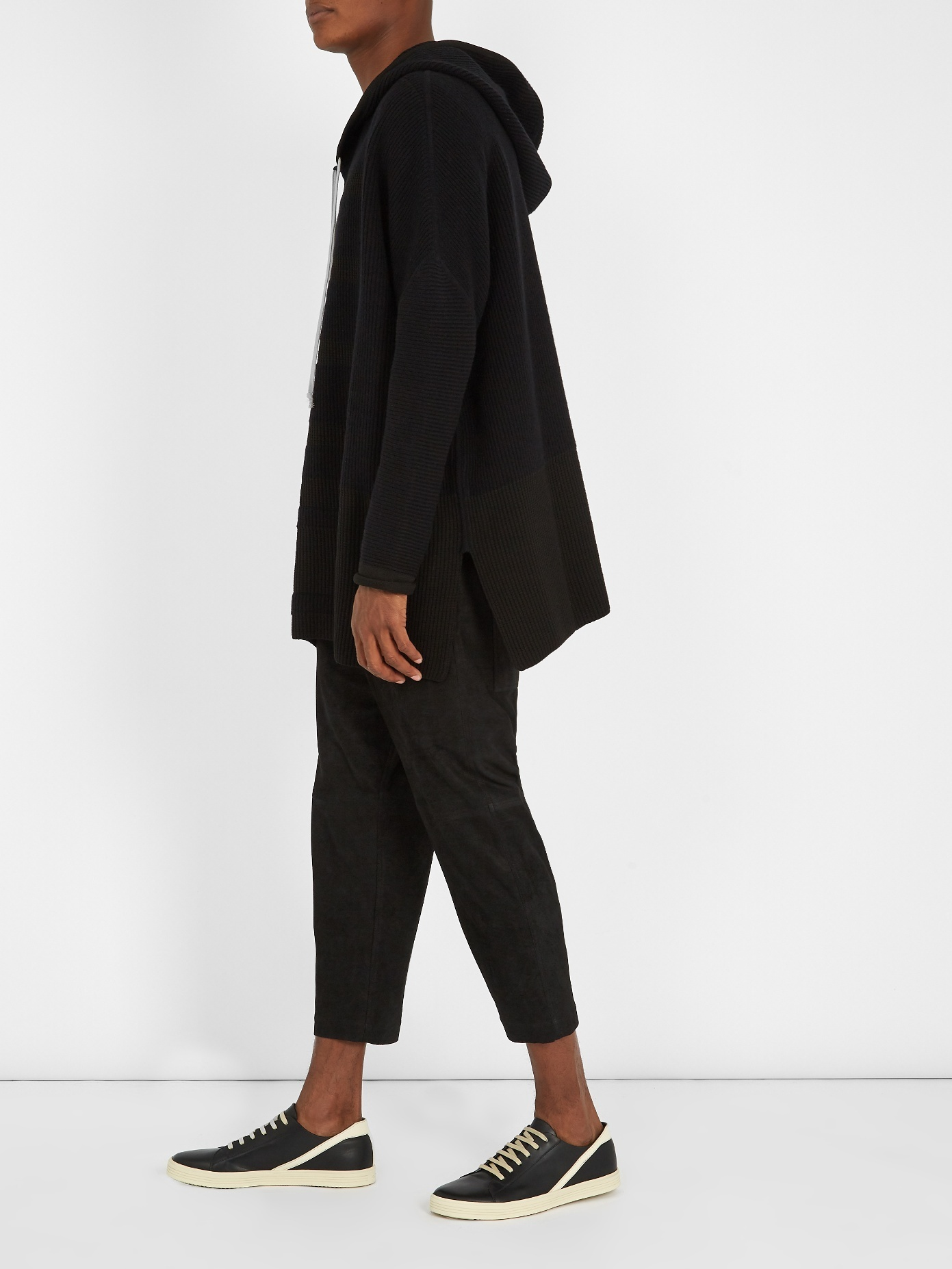 Rick Owens ★ Hooded ribbed-knit sweater