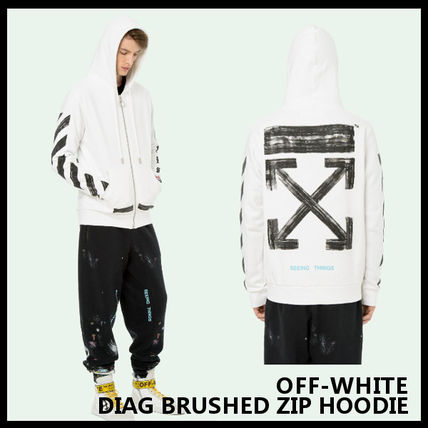 【Off-White】DIAG BRUSHED ZIP HOODIE OMBB003F170030300110