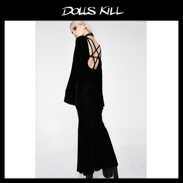 関税/送料込 *DOLLS KILL* BATHORY VELVET MAXI DRESS