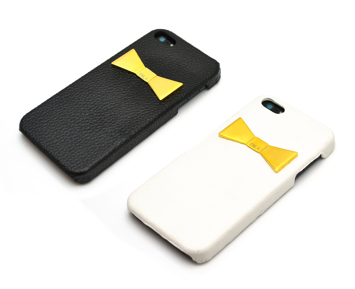 最新!iPhone対応★ENLA GOLD RIBBON PLATE LEATHER CASE リボン
