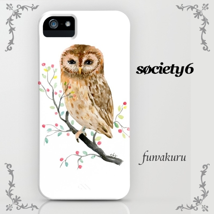 【Society6】iPhone/Galaxyケース対応size豊富 フクロウ 水彩画