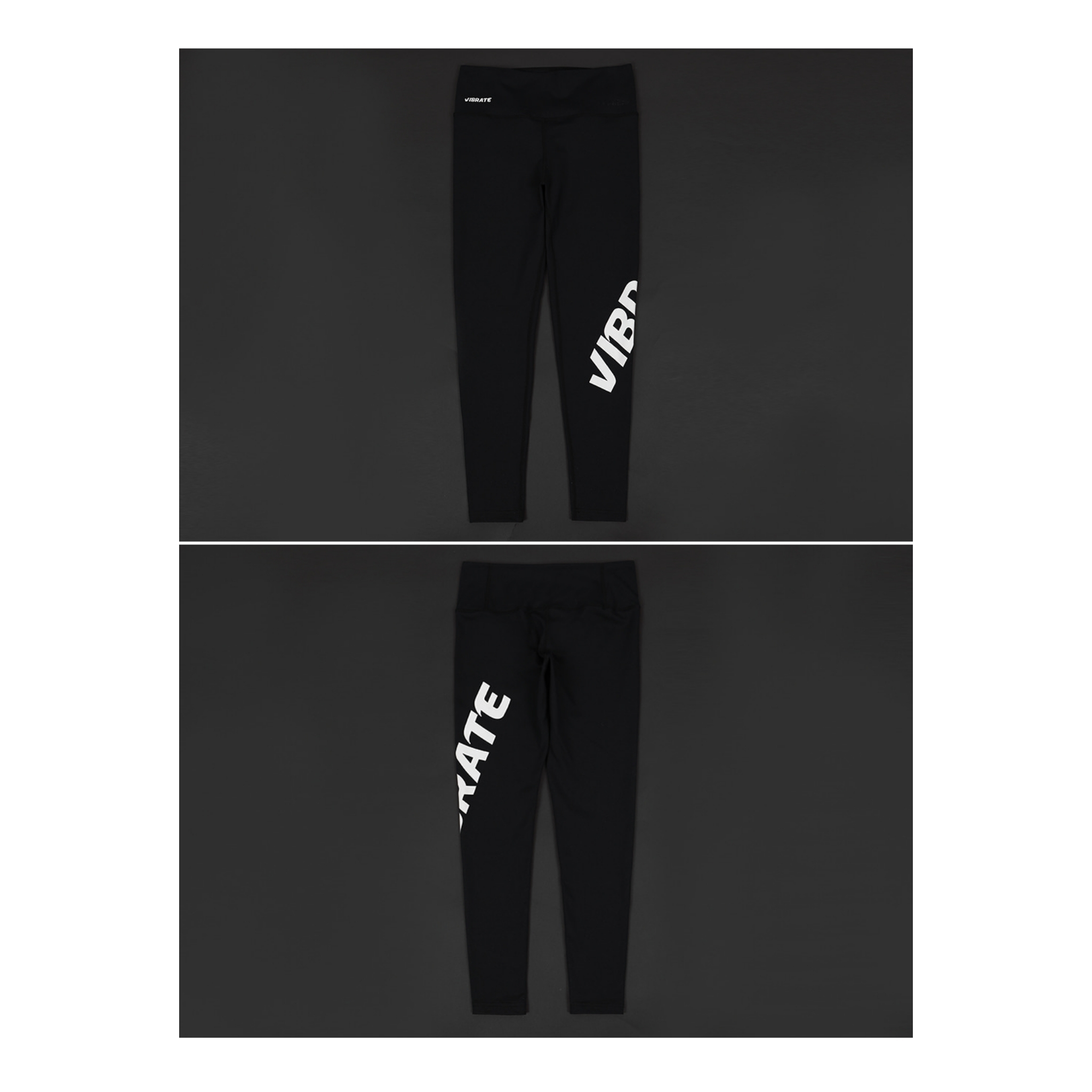 新作☆VIBRATE★TWISTED SIDE LINE LOGO LEGGINGS (BLACK)