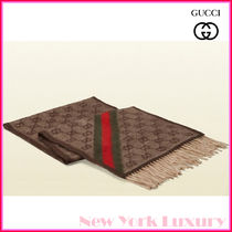 GUCCI★グッチ★素敵!beige&brown GG WEB detail fringe scarf