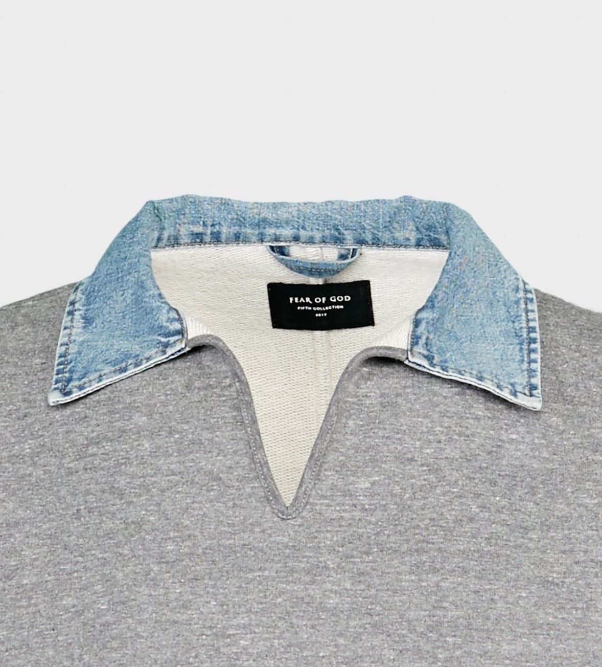FEAR OF GOD 5TH COLLECTION V-NECK POLO HEATHER GREY