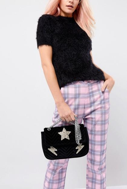 【日本未上陸】Skinnydip Glitter Quilted Velvet Shoulder Bag
