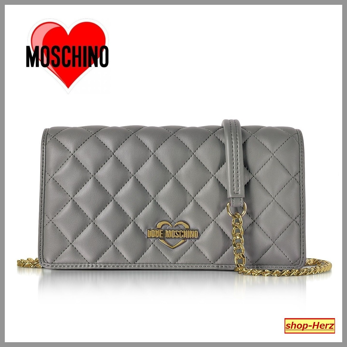 ★Love Moschino★ Grey Superquilted クラッチバッグ 関税込