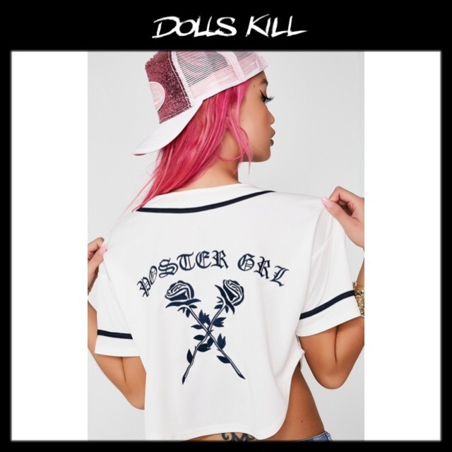 関税/送料込 *DOLLS KILL* IT'S A HIT BASEBALL CROP TEE
