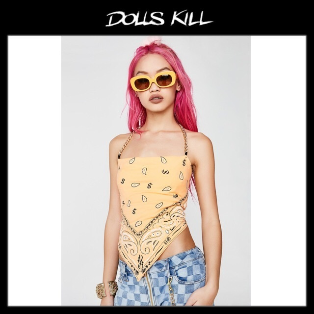 関税/送料込 *DOLLS KILL* AIN'T NO OTHER BANDANA TOP