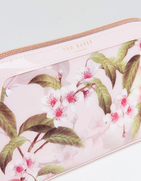 TED BAKER メイクアップバッグ 桃の花プリント