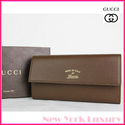 4c7c5a927766 GUCCI 長財布 GUCCI☆グッチ☆素敵!BROWN SWING TEXTURED LEATHER WALLET ...
