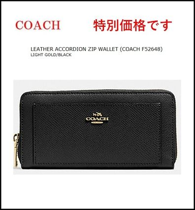 【COACH】LEATHER ACCORDION ZIP WALLET F52648 黒