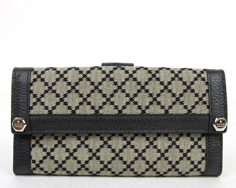 GUCCI★グッチ★素敵!Beige Black Diamante Continental Wallet