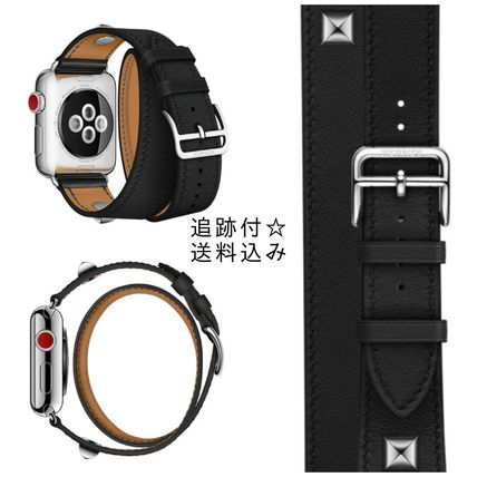 HERMES Apple Watch Double Tour Medor レザーストラップ 【黒】