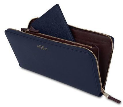 SMYTHSON(スマイソン)★Panama Zip Travel Wallet  NAVY