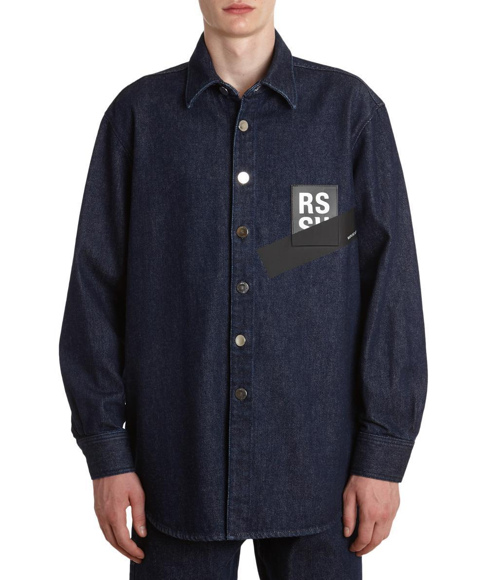 SS18 ラフシモンズ PATCHED COTTON DENIM SHIRT