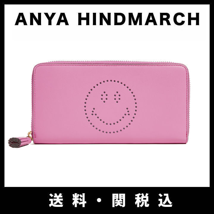 ■新作■関税込■Anya Hindmarch Large Zip Round Smiley 長財布