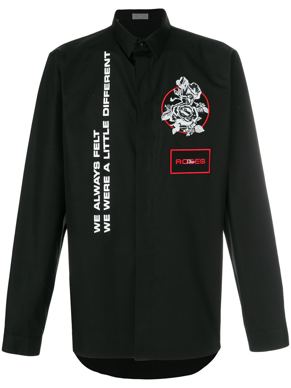 ★18SS★ DIOR HOMME ローズアップリケ ブラックボタンシャツ