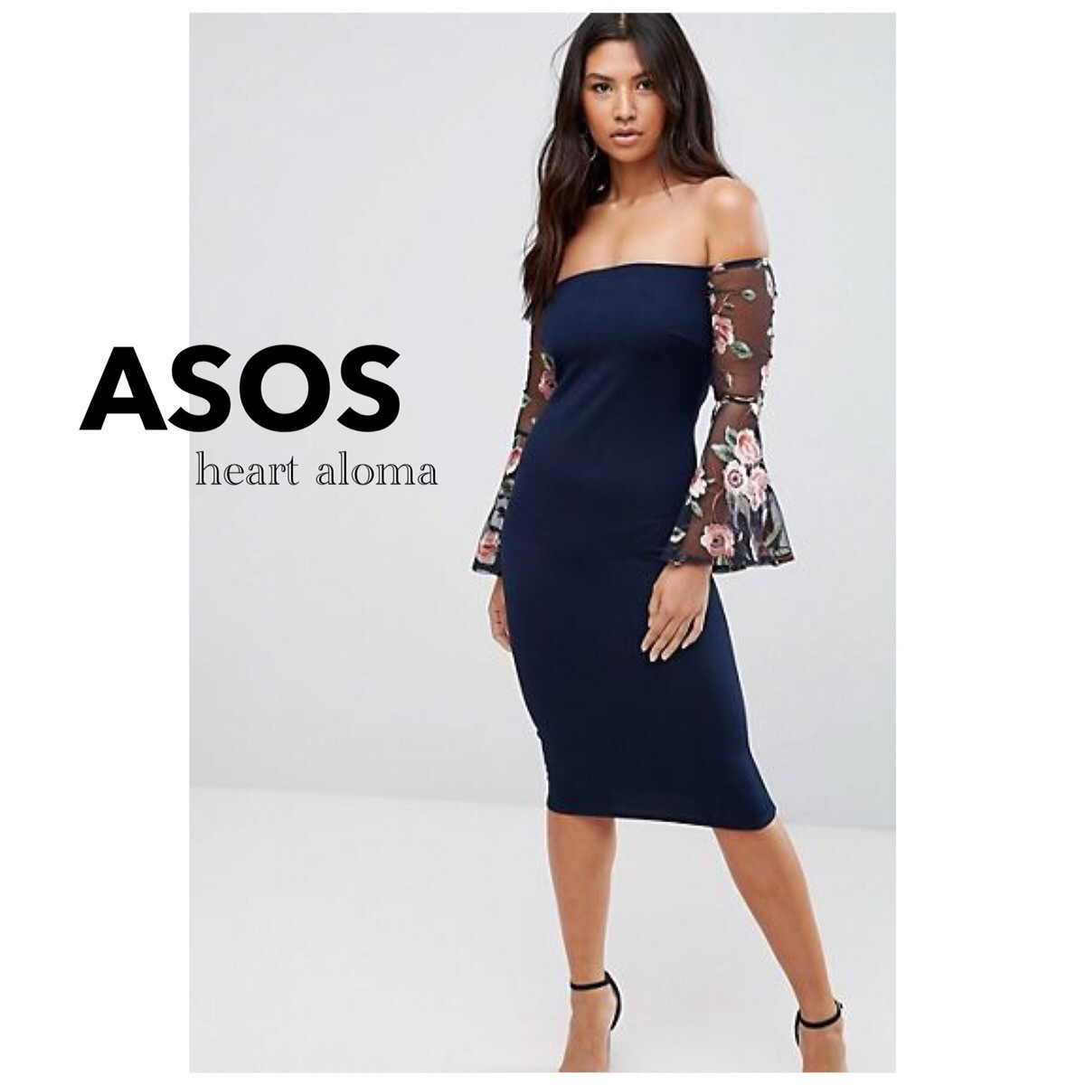 *ASOS* Club L Bardot Detail Dress With Embroidered Sleeves