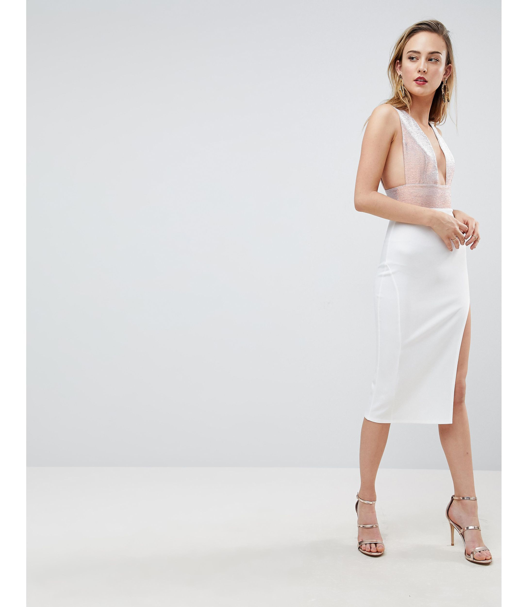 ★ASOS★ TALL Deep Plunge Ombre Sparkle Bodycon ミッドi