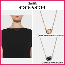 新作18SS☆COACH*18k Gold Plated Sunburst Stone Necklace