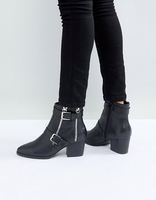 ASOS RATION Zip Ankle Boots in Water Based PU♪