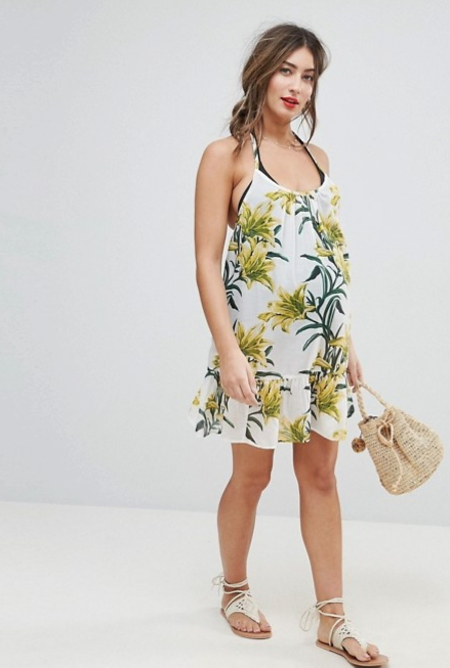☆ ASOS Maternity Lily Print Simple T Back Beach Dress ☆