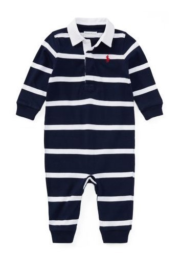新作♪国内発送 3色Striped Cotton Rugby Coverall boys 0~24M