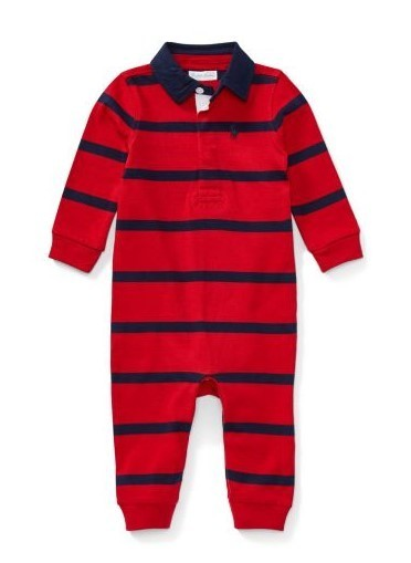 新作♪国内発送 2色Striped Cotton Rugby Coverall boys 0~24M