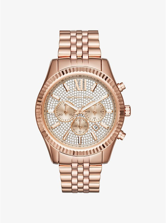 Michael Kors Lexington Pave Rose Gold-Tone Watch