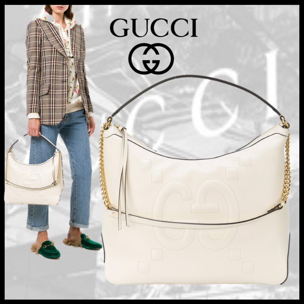GUCCI ロゴ ホーボーバッグ