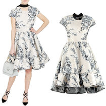 FE1885 FLORAL JACQUARD MINI DRESS WITH BOW