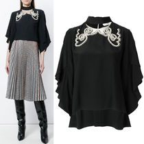 FE1892 PEARL EMBELLISHED BLOUSE WITH RIBBON TIE