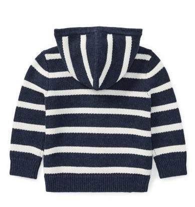 新作♪国内発送 Striped Cotton Full-Zip Hoodie boys 0~24M