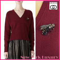 GUCCI★グッチ★素敵!Red GOLD BEE BROOCH V Neck KNIT SWEATER