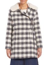 See by Chloe Oversized Checkered Faux Fur コート セール中