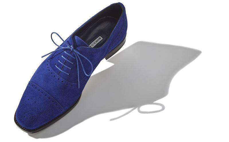 【18SS】MANOLO BLAHNIK/OXFORD レースアップブローズ Blue