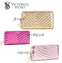 V-Quilt Metallic Crackle Zip Wallet メタリック 長財布