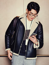 [8 SECONDS] Fake Leather Fleece Collar Shearling Jacket