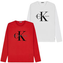 Calvin Klein Jeans Crew Neck L/S T-Shirt - Red & White