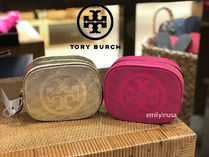 即発 TORY BURCH★Logo Perforated Cosmetic Bags*革製