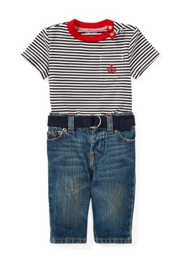 新作♪国内発送 T-Shirt, Belt & Jean Set boys 0~24M