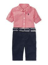 新作♪国内発送 Gingham Shirt, Pant & Belt Set boys 0~24M