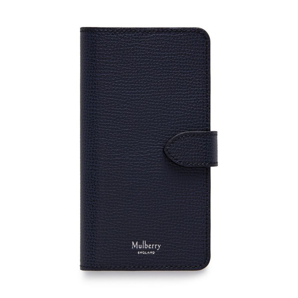Mulberry iPhone Flip Case midnight Cross Grain Leather