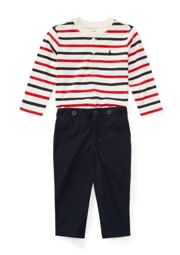 新作♪国内発送 Cotton Henley & Pant Set boys 0~24M