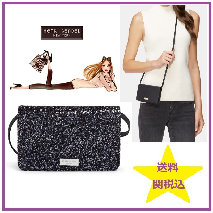 HenriBendel ヘンリベンデル iPhone CROSSBODY GLITTER BLACK ☆